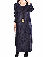 cheap -lanisen women plus size floral long sleeve linen cotton kaftan dress with pocket navy uk14
