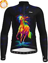 cheap -21Grams Men's Long Sleeve Cycling Jacket Winter Fleece Polyester Black Animal Bike Jacket Top Mountain Bike MTB Road Bike Cycling Thermal Warm Fleece Lining Breathable Sports Clothing Apparel