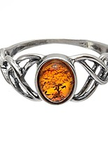 cheap -sterling silver and baltic honey amber celtic knots ring- size 6.5