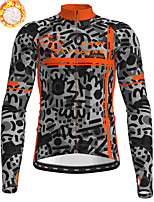 cheap -21Grams Men's Long Sleeve Cycling Jersey Winter Fleece Polyester Yellow Orange Green Camo / Camouflage Animal Bike Jersey Top Mountain Bike MTB Road Bike Cycling Fleece Lining Breathable Warm Sports