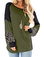 cheap -women's casual color block t shirt round neck leopard raglan long sleeve loose tunic tops tees shirts green-m