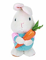 cheap -38cm plush electric rabbit toy talking singing rabbit with carrot ultra high simulation interactive toy for kids children(blue)