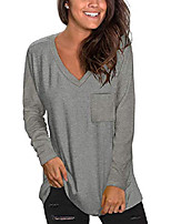 cheap -women loose long sleeve shirts v neck casual fall tunic tops to wear with leggings deep gray large