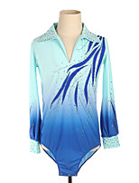 cheap -Figure Skating Top Men's Boys' Ice Skating Top Blue High Elasticity Training Competition Skating Wear Crystal / Rhinestone Long Sleeve Ice Skating Figure Skating / Kids