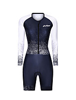 cheap -Men's Women's Long Sleeve Triathlon Tri Suit Polyester Black / White Bike Clothing Suit Breathable 3D Pad Quick Dry Reflective Strips Sweat-wicking Sports Graphic Mountain Bike MTB Road Bike Cycling