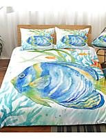 cheap -Ocean Series Sea Fish Print 3-Piece Duvet Cover Set Hotel Bedding Sets Comforter Cover with Soft Lightweight Microfiber(Include 1 Duvet Cover and 1or 2 Pillowcases)