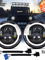 cheap -7 Inch LED Headlights DRL Hi/Lo Beam Halo Ring Amber Angel Eye For Niva Motorcycle Lada Offroad 2 Pcs