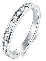 cheap -925 sterling silver ring, cubic zirconia cz wedding band stackable ring 2mm size 10