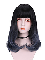 cheap -Synthetic Wig Curly With Bangs Wig Medium Length Blue Synthetic Hair 16 inch Women's Cool Color Gradient Fluffy Blue