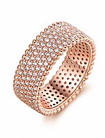 cheap -18k rose gold plated or white gold plated 5 row cubic zirconia eternity wide band ring (rose gold, 9)