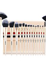 cheap -16pcs Soft Synthetic Fibers Hair Make Up Brushes Lip Eyelash Powder Blending Large Fan Brush Beige Essential Set