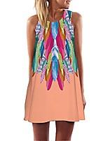 cheap -women's summer sleeveless tank dress casual boho vintage floral print beach mini swing dresses tunics