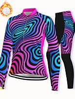 cheap -21Grams Women's Long Sleeve Cycling Pants Winter Fleece Spandex Fuchsia Bike Fleece Lining Warm Sports Graphic Mountain Bike MTB Road Bike Cycling Clothing Apparel / Stretchy / Athleisure