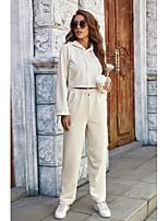 cheap -Women's Basic Plain Daily Two Piece Set Hoodie Crop Pant Tops