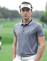 cheap -Men's Golf Polo Shirts Short Sleeve Breathable Quick Dry Soft Sports Outdoor Autumn / Fall Spring Summer Spandex Solid Color White Black Gray / Stretchy