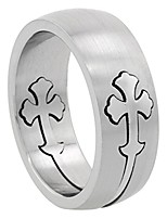 cheap -surgical stainless steel 8mm gothic cross wedding band ring domed matte finish, size 14