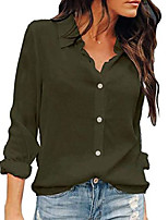 cheap -womens button down shirts long sleeve chiffon office casual blouses (xl, armygreen)