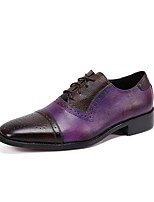cheap -Men's Oxfords Business Casual British Daily Party & Evening Cowhide Handmade Non-slipping Wear Proof Light Purple Brown Fall Winter