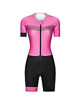 cheap -Men's Women's Short Sleeve Triathlon Tri Suit Polyester Pink Bike Clothing Suit Breathable 3D Pad Quick Dry Reflective Strips Sweat-wicking Sports Graphic Mountain Bike MTB Road Bike Cycling Clothing