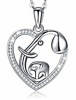 cheap -elephant necklace for women girls,  925 sterling silver love heart lucky elephant mother daughter pendant necklace 18'' mothers day jewelry gifts for women mom girls girlfriend couples