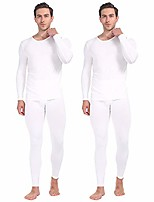 cheap -thermal underwear for men long johns set fleece lined winter base layer 2 pack white x-small