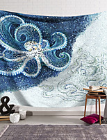 cheap -Wall Tapestry Art Decor Blanket Curtain Hanging Home Bedroom Living Room Decoration Polyester Fiber Animal Painted Blue and White Octopus Lanting Design