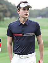 cheap -Men's Golf Polo Shirts Short Sleeve Breathable Quick Dry Soft Sports Outdoor Autumn / Fall Spring Summer Spandex Stripes White Red Dark Navy / Stretchy