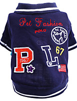 cheap -Dog Shirt / T-Shirt Letter & Number Cute Cool Casual / Daily Dog Clothes Puppy Clothes Dog Outfits Breathable Blue Costume for Girl and Boy Dog Polyester XS S M L XL