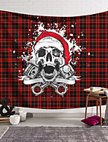 cheap -Christmas Santa Claus Holiday Party Wall Tapestry Art Decor Blanket Curtain Hanging Home Bedroom Living Room Decoration Skull Red Green Plaid Christmas Hat
