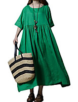 cheap -women's maxi dress linen cotton pleated loose summer dresses with pockets green 14