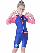cheap -Girls' Shorty Wetsuit 2.5mm SCR Neoprene Diving Suit Quick Dry Long Sleeve Front Zip Patchwork Summer / Kids