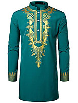 cheap -men's long sleeve dashiki african traditional wedding dress shirt luxury gold printed clothing teal small