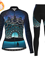 cheap -21Grams Women's Long Sleeve Cycling Jersey with Tights Winter Fleece Polyester Dark Navy Bike Clothing Suit Thermal Warm Fleece Lining Breathable 3D Pad Warm Sports Printed Mountain Bike MTB Road