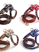 cheap -Dog Collar Tie / Bow Tie Adjustable Retractable Durable Outdoor Walking Plaid / Check Classic PU Leather Small Dog Black Red Blue Pink Brown 1pc