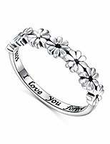 cheap -925 sterling silver ring daisy flower hawaiian i love you forever tarnish resistant comfort fit wedding band ring 7