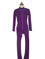 cheap -Figure Skating Jacket with Pants Women's Girls' Ice Skating Pants / Trousers Top Black Purple Patchwork Spandex High Elasticity Training Competition Skating Wear Crystal / Rhinestone Long Sleeve Ice