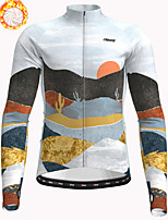cheap -21Grams Men's Long Sleeve Cycling Jacket Winter Fleece Polyester Grey Bike Jacket Top Mountain Bike MTB Road Bike Cycling Thermal Warm Fleece Lining Breathable Sports Clothing Apparel / Stretchy