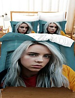cheap -Billie Eilish 3-Piece Duvet Cover Set Hotel Bedding Sets Comforter Cover with Soft Lightweight Microfiber, Include 1 Duvet Cover, 2 Pillowcases for Double/Queen/King(1 Pillowcase for Single)