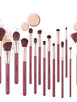 cheap -15Pcs Wine Red Rubber Paint Wooden Handle Makeup Brushes Comfortable Synthetic Hair Powder Concealer Eye Shadow Fan Brush