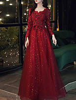 cheap -A-Line Elegant Floral Engagement Formal Evening Dress Scoop Neck Long Sleeve Floor Length Tulle with Beading Appliques 2020