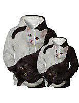 cheap -Family Look Active Cat Graphic Optical Illusion Animal Print Long Sleeve Regular Hoodie & Sweatshirt Black
