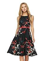 cheap -vintage rockabilly plum floral print belt retro swing tee cocktail women dress,black,m