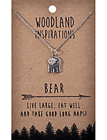 cheap -woodland nature inspirations quote necklace (bear pendant)