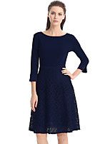 cheap -Women's Swing Dress Knee Length Dress - 3/4 Length Sleeve Solid Color Patchwork Spring Fall Casual Party Slim 2020 Black Red Dusty Blue S M L XL XXL 3XL 4XL