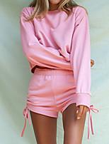 cheap -Women's Basic Cinched Plain Two Piece Set Sweatshirt Pant Drawstring Tops