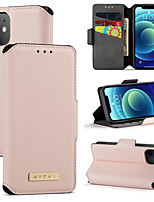 cheap -Case For Apple iPhone 12 / iPhone 11 / iPhone 12 Pro Max Card Holder / Shockproof / Magnetic Full Body Cases Solid Colored PU Leather / TPU