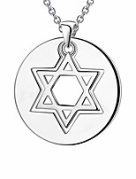 cheap -two in one round coin star of david necklace charm 925 sterling silver magen david star pendant women men unisex jewish jewerly gift for him her fp0082w