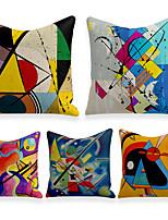 cheap -Cushion Cover 5PCS Linen Soft Decorative Square Throw Pillow Cover Cushion Case Pillowcasefor Sofa Bedroom 45 x 45 cm (18 x 18 Inch) Superior Quality Mashine Washable
