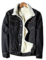 cheap -men's sherpa fleece lined denim jean trucker jackets(black-s)