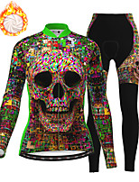 cheap -21Grams Women's Long Sleeve Cycling Jersey with Tights Winter Fleece Polyester Green Skull Bike Clothing Suit Fleece Lining Breathable 3D Pad Warm Quick Dry Sports Graphic Mountain Bike MTB Road Bike